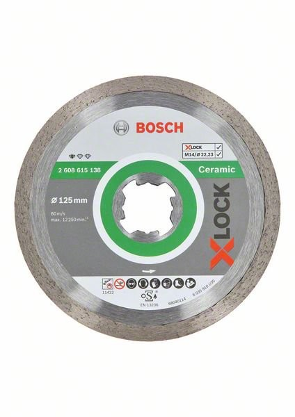 Bosch X-LOCK Diamanttrennscheibe Standard for Ceramic 125 x 22,23 x 1,6 x 7 (2608615138)