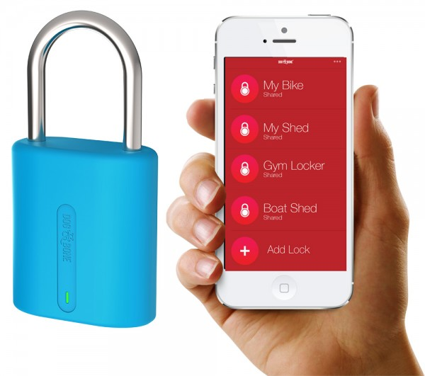 Dog&Bone Locksmart mini blau Bluetooth-Vorhängeschloss